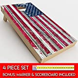 Skin Decals Vinyl Wrap for Cornhole Game Board Bag Toss (4 pcs.) Includes Dry Erase Marker and Scoreboard   US Flag Distressed Wood Plank