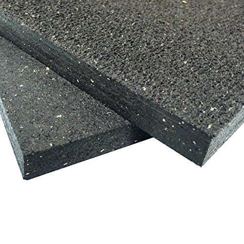 Rubber-Cal Shark Tooth Heavy Duty Mat, Black, 3/4-Inch x 3 x 4-Feet