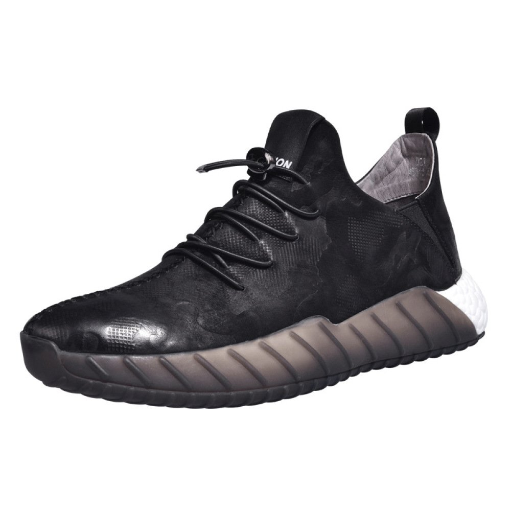 DHFUD Koreanische Männer Schuhe Turnschuhe Leder Niedrig Cut Freizeitschuhe Herrenschuhe
