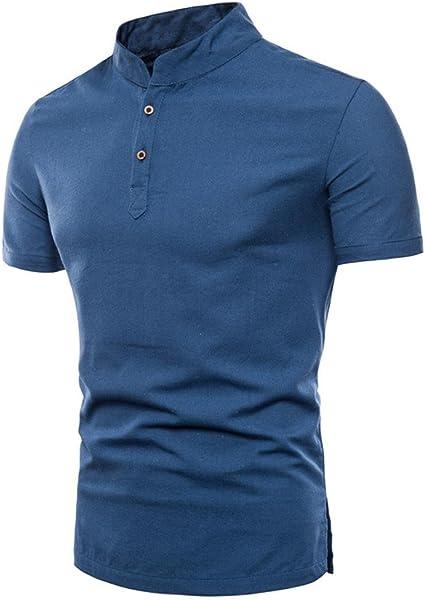 STRIR Polo Casual de Manga Corta Camisas Moda Para Hombre (L, Azul ...