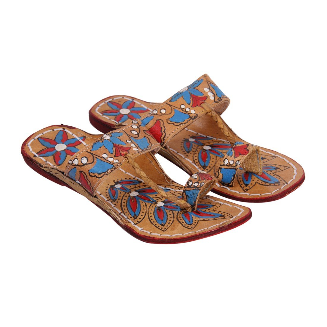 INDCROWN Hippie Indian Water Buffalo Jesus Sandle 100% Leather Kolhapuri Flat Flower Print Woman Sandle B07F75GKZK 10 B(M) US|Blue