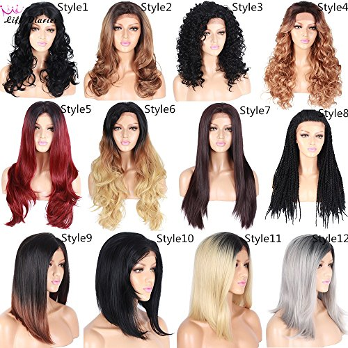 Different Styles Wave Curly Straight Braid Wigs Ombre Blonde Red Color Hand Tied Japanese Top Grade Kanekalon Synthetic Glueless Free Part Lace Front Wigs For Women(18