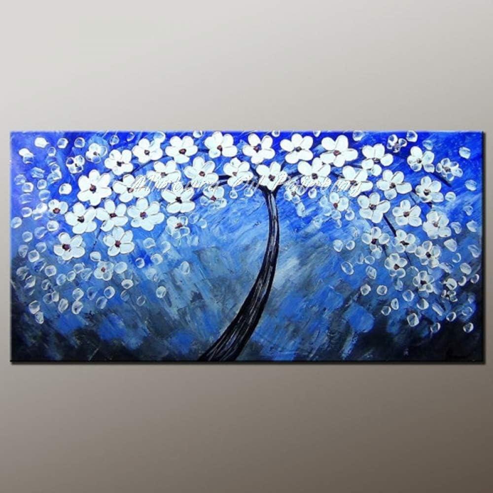 Pinturas Al Pintura Al Óleo Pintado A Mano,Pintado A Mano Al 100% Paisaje Abstracto Cuchillo De Paleta Texturizado Flores Blancas Bajo Estrellas Azules Pinturas Al Óleo Sobre Lienzo Cuadros Modernos