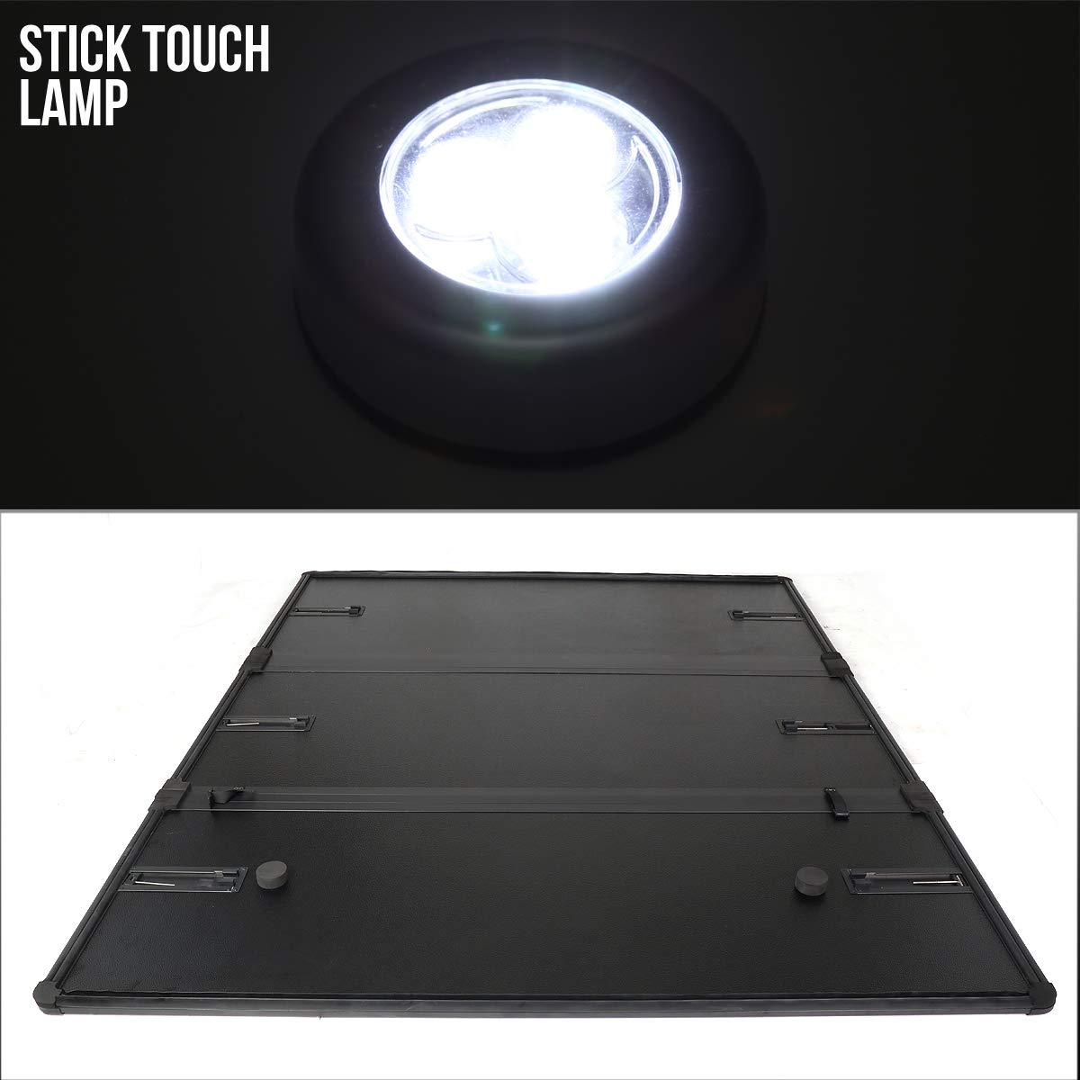 For 07-14 Chevy Silverado//GMC Sierra 58 Short Bed FRP Hard Solid Tri-Fold Tonneau Cover