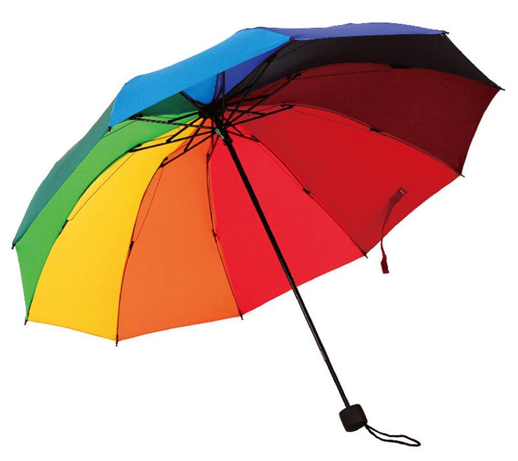 HorBous Triple folding umbrella for Rainy and Sunny Days Rainbow Umbrella 10 Rib Wind Resistant Steel Frame 10 colors umbrella cloth