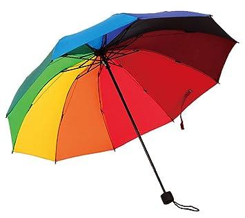 HorBous Triple sombrilla Plegable para Rainy y Sunny Days Paraguas Rainbow 10 Rib Resistente al Viento