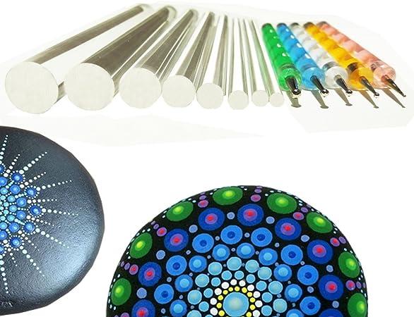 Mandala Dotting Tools Rock Painting Kits Art Pen Paint Stencil Brush UK
