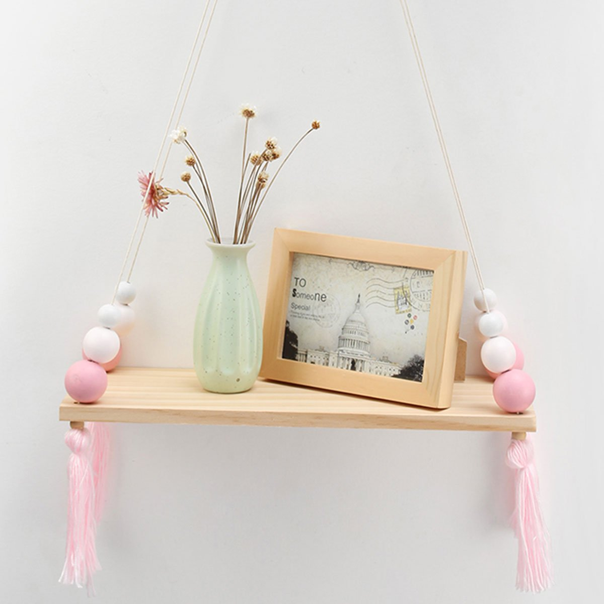 Rosa e Bianco Portaoggetti Pensile in Legno da Muro king do way Mensola da Parete Appendere Mensole Sospese Creative da Casa 38 x 14 x 1.2cm