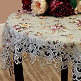 TaiXiuHome European Pastoral Style Green Tablecloth with Lace and Floral Embroidery Top Decoration Square approx 33x33 inch (85x85cm)