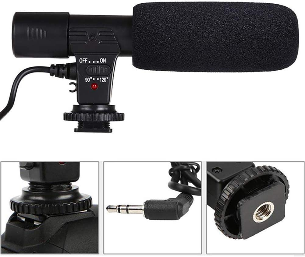 Wulidasheng Camera Microphone,Professional 3.5mm External Video Interview Stereo Microphone DSLR DV Camcorder Mic