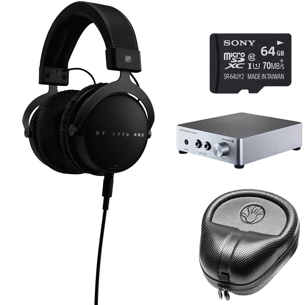 BeyerDynamic DT 1770 PRO Headphones 710717 w/ Amp Bundle Includes, BeyerDynamic A20 Headphone Amplifier, Slappa Headphone Case, Sony 64GB micro SDXC Class 10 Memory Card