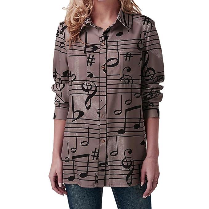 Tefamore Camisas Mujer, Blusa de Manga Larga Mujer Estampado Camiseta de Tops Otoño