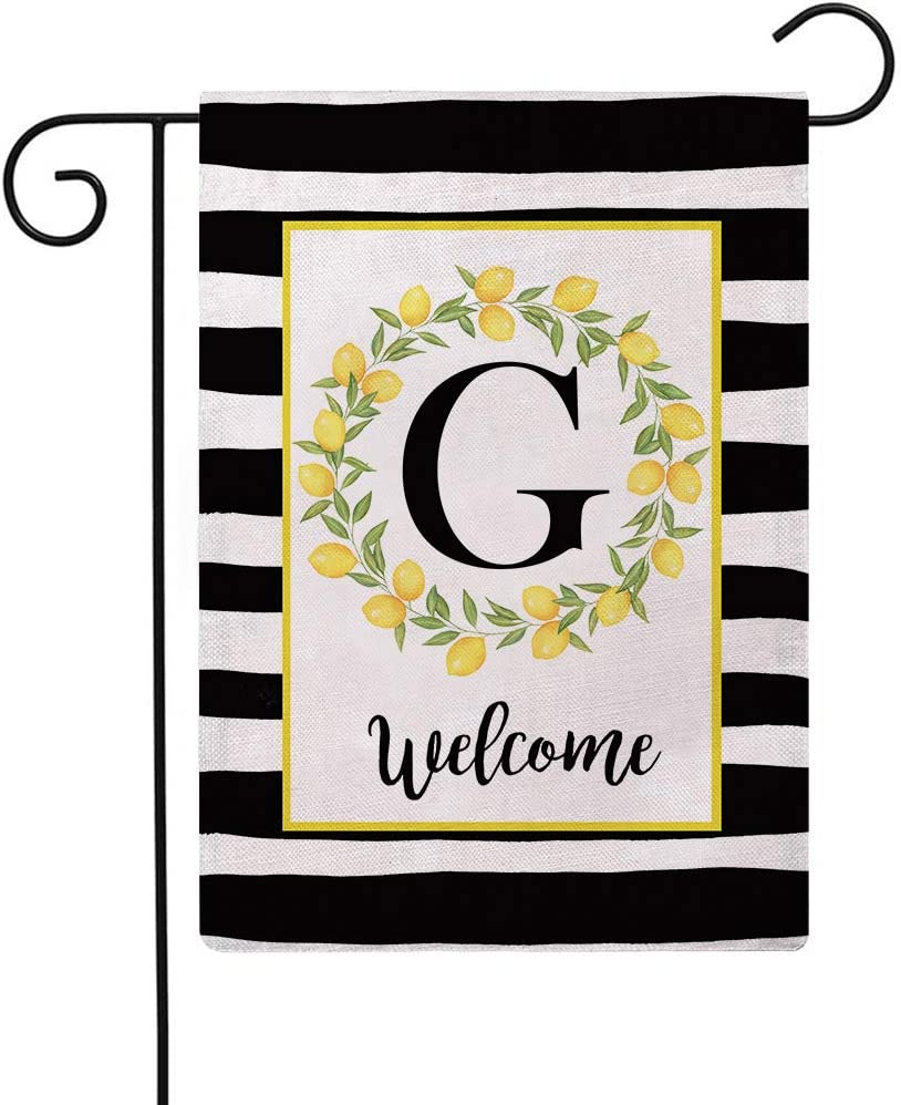 ULOVE LOVE YOURSELF Welcome Farmhouse Decorative Garden Flags with Letter G/Lemons Wreath Double Sided House Yard Patio Outdoor Garden Flags Small Garden Flag 12.5×18 Inch(G)