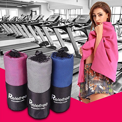 """Relefree Microfiber Towel Set 2 Pack Absorbent Quick Drying Antibacterial XL (60"""" X 30"""") with Hand/Face Towel (24""""X15"""") & Mesh BAG for Swimming, Travel, Sports, Camping, Beach, Bath"""