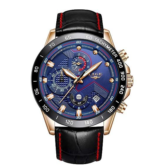 2a3732c55bd8 Reloj Deportivo para Hombre Reloj de Cuarzo analógico Impermeable Marca de  Lujo LIGE Cronógrafo de Cuero de Moda Azul Militar Fecha Reloj Hombre   Amazon.es  ...