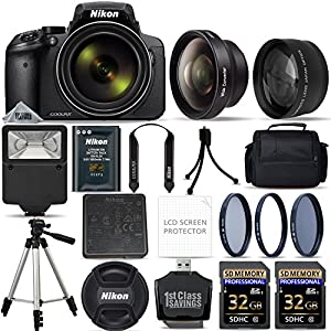 Nikon COOLPIX P900 Digital Camera with 83x Optical Zoom and Built-In Wi-Fi (Black) + 64GB Starter Bundle. Includes 2X Memory Cards + 3 Piece Filter Kit + Tripod + Case + MUCH MORE