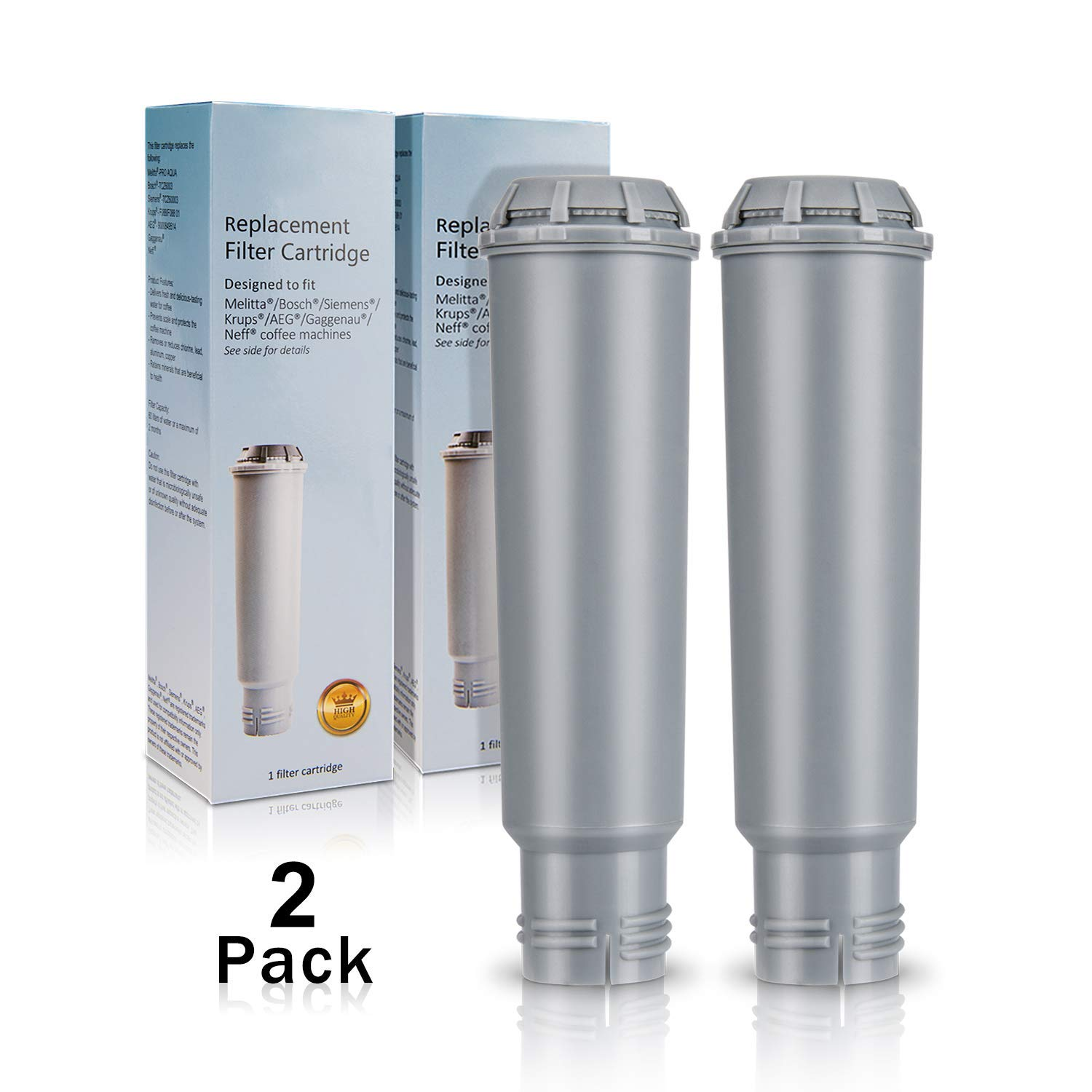 Coffee Machine Filter for Krups Claris F088 Filter, Homegoo Water Filter Compatible with Melitta, Nivona NIRF-700, Bosch, AEG, Siemens Coffee Machines (Pack of 2)