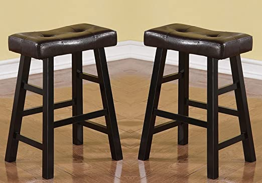 """Poundex Set of 2 Mauro Country 29/""""H Bar Stool in Dark Cherry with Faux Leather"""