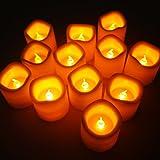 Set di 12 Lumini Con Candela a LED a Luce lampeggiante Senza Fiamma Color Ambra M-LD026