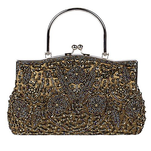 X Womens Evening Metal Design Satin Kissing NVBAO Beaded Sequin coffee Clutch 22cm Frame Bag Lock Bags£¬24 OHqwwS
