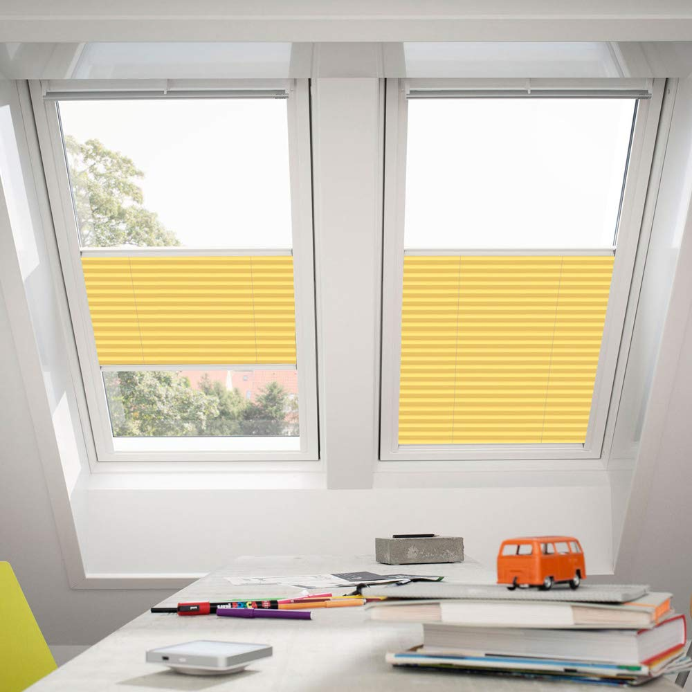 Orignal VELUX Plissee   Faltstore FHL M06 1271S   Bedienart   Manuell   Farbe   Uni Gelb   Fenstergröße   M06   Fenstertypen   GGU, GGL, GPU, GPL, GHU, GHL, GTU, GTL, GXU, GXL _16352