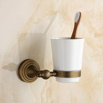 JIAJU Estilo Europeo de Cobre Antiguo Solo Titular de la Taza de baño Retro Creativo único