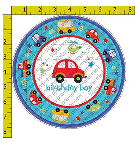"All Aboard Vehicles Birthday Boy Edible Frosting Image 8"" Round Cake Topper"