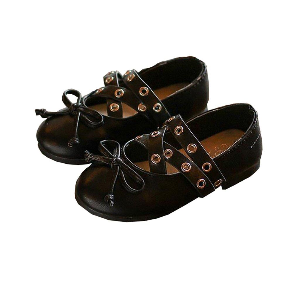 30a705d2276 Amazon.com | BININBOX Girls Bowknot Rivet Girls Dress Shoes PU ...