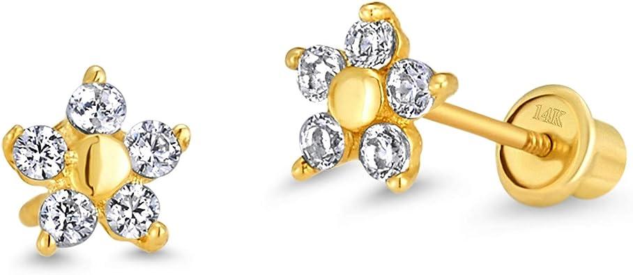 14k Solid Yellow Gold Cubic Zirconia Round Flower Screwback Earrings Baby Girls Children Women Screwback Earrings