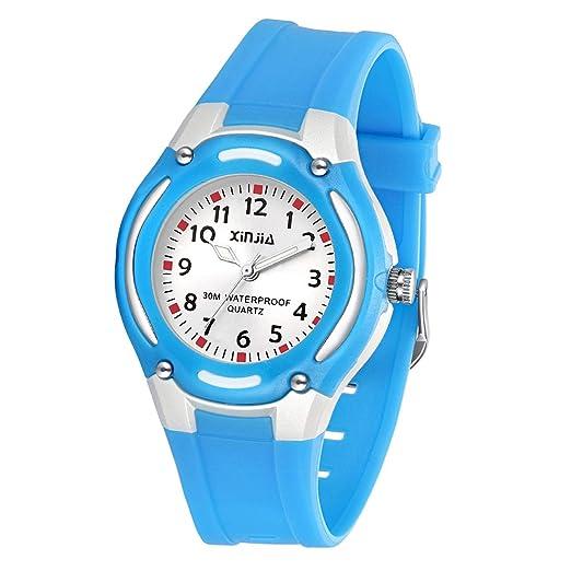 Relojes para Niñas,Niños Impermeable Fácil de Leer Relojes de Pulsera con Correa Suave para
