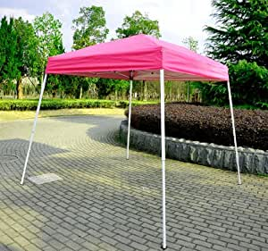 outsunny 8 39 x 8 39 slant leg easy pop up canopy party tent pink sun shelters. Black Bedroom Furniture Sets. Home Design Ideas