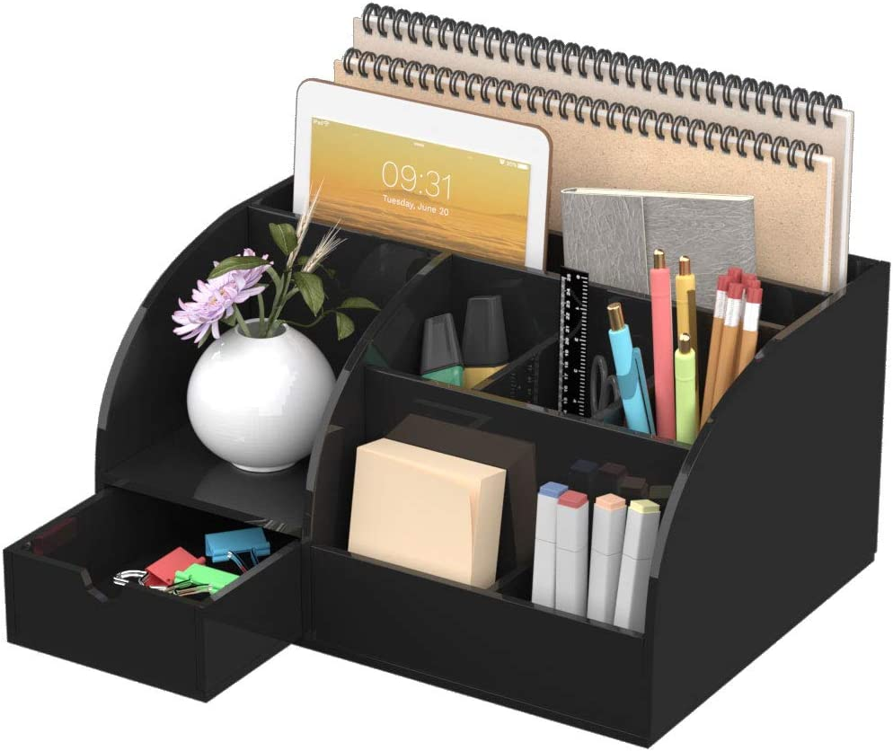 FEMELI Office Desk Organizer and Accessories, Acrylic Desk Organizer with 8 Compartments +1 Drawer(Black)