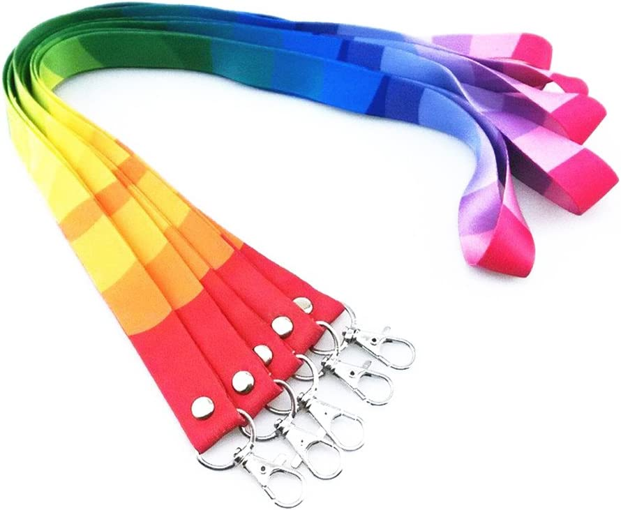 3 Set Rainbow Key Lanyard and ID Cards Holder Set Colorful Neck Strap Safety/Lanyards with Swivel Metal Clip and Transparent Badge Holder for Keys ID Cards Tickets