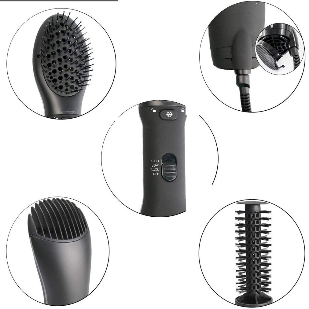 MTXLN One Step Hair Dryer & Hot Air Comb |Multifunction Styler | 3 in 1 Hot Air Hair Curling Straight Comb Anion Hair Dryer for All Hair Types | EliminateFrizzing (Black) by MTXLN (Image #4)
