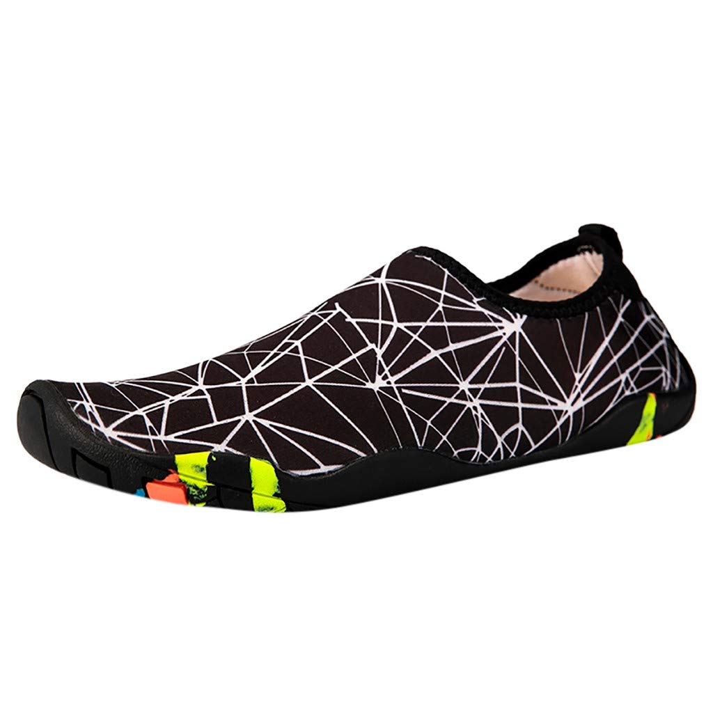 NUWFOR Couple Beach Shoes Swimming Shoes Water Shoes Barefoot Quick Dry Aqua Shoes(White,6 M US Length:8.9'')