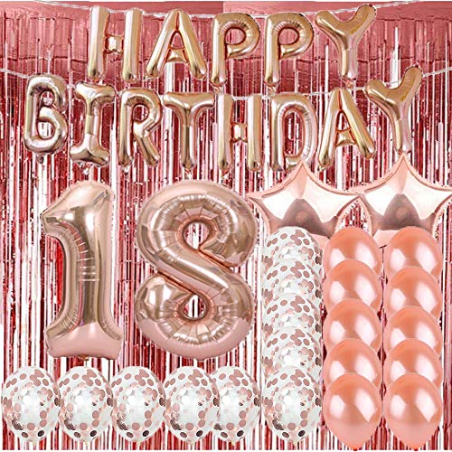 Sweet 18th Birthday Decorations Party Supplies,Rose Gold Number 18 Balloons,18th Mylar Balloons Rose Gold Foil Fringe Curtains Photo Backdrop Great 18th Birthday Gifts for Girls,Women,Men,Photo Props -