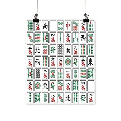 Amazon Com 1 Piece Wall Art Painting Mahjong Tiles On White