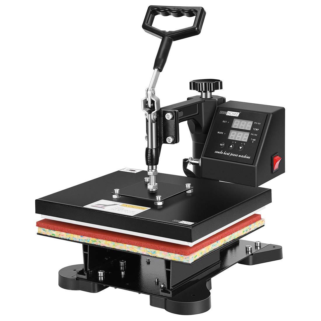 VIVOHOME Swing Away Clamshell Printing Heat Press Machine for T-Shirt 12 x 10 Inch