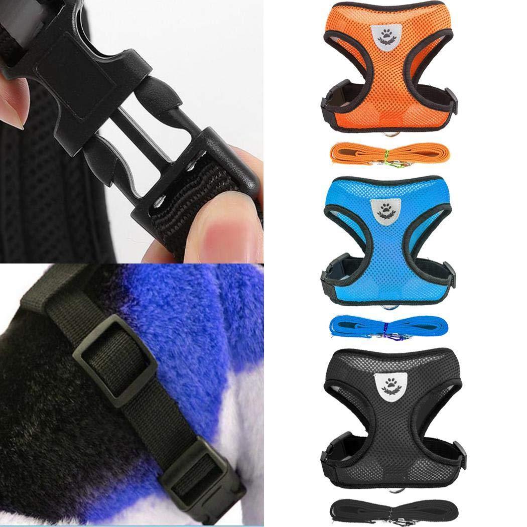 Minlop Mesh Gewebe Hundeweste Harness Weich Einstellbare Komfortable | Pet Lead-Brust Gehen Leine Hundegeschirr mit Clip, 4 Größen