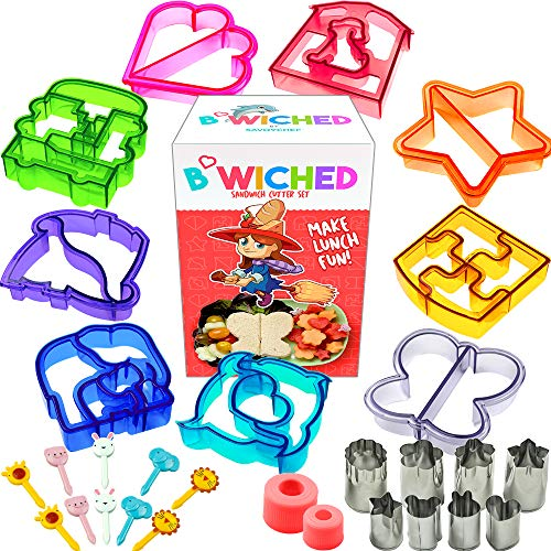 29pc Sandwich Cutter Set for Kids of All Ages - Turn Vegetables, Fruits, Cheese, and Cookie Into Fun Bites - Add to Bento Box and Lunch Box - Toddlers Boys and Girls - Easy to Use -