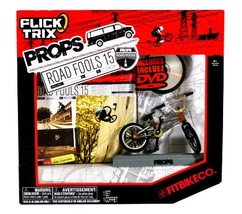 Spinmaster Flick Trix Fingerbike ''Real Bikes, Unreal Tricks'' BMX Bicycle Miniature Set - FITBIKE CO. with Display Base and DVD Props ''Road Fools 15''