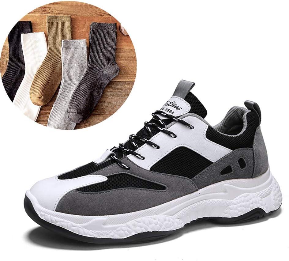 Zapatos De Moda para Adolescentes Zapatillas Bajas para Correr Al Aire Libre Y Transpirables, Zapatillas De Deporte De Tendencia Baja Y Casual, Contienen 5 Pares De Calcetines,Blackgray,42: Amazon.es: Deportes y aire libre