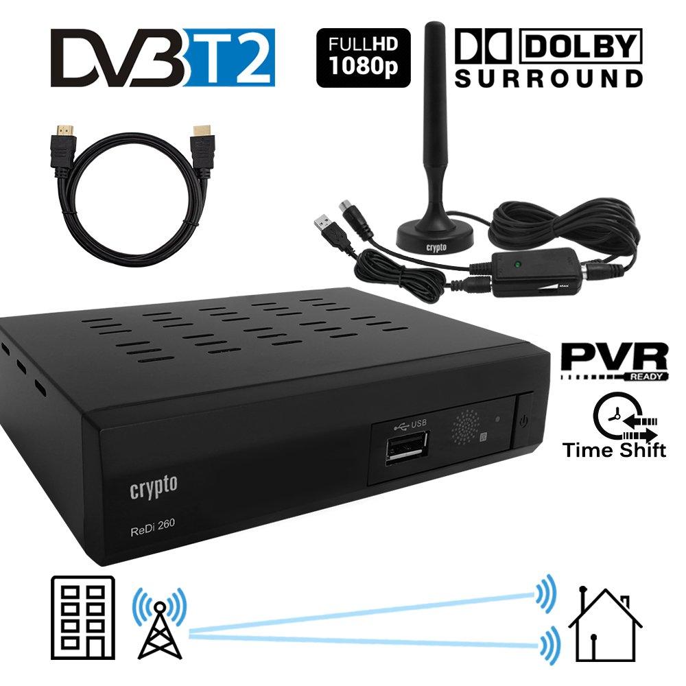 Crypto Redi 260PHA 1080PフルHD 1080 DVB-T2 Tnt HDデコーダ(ドルビー対応)、フルマルチメディアH.264 / MPEG-2/4プレーヤー、DVB-T2屋内アンテナ(パッシブ/アクティブ)、アンテナアンプおよびHDMIケーブル1M B0788R534K