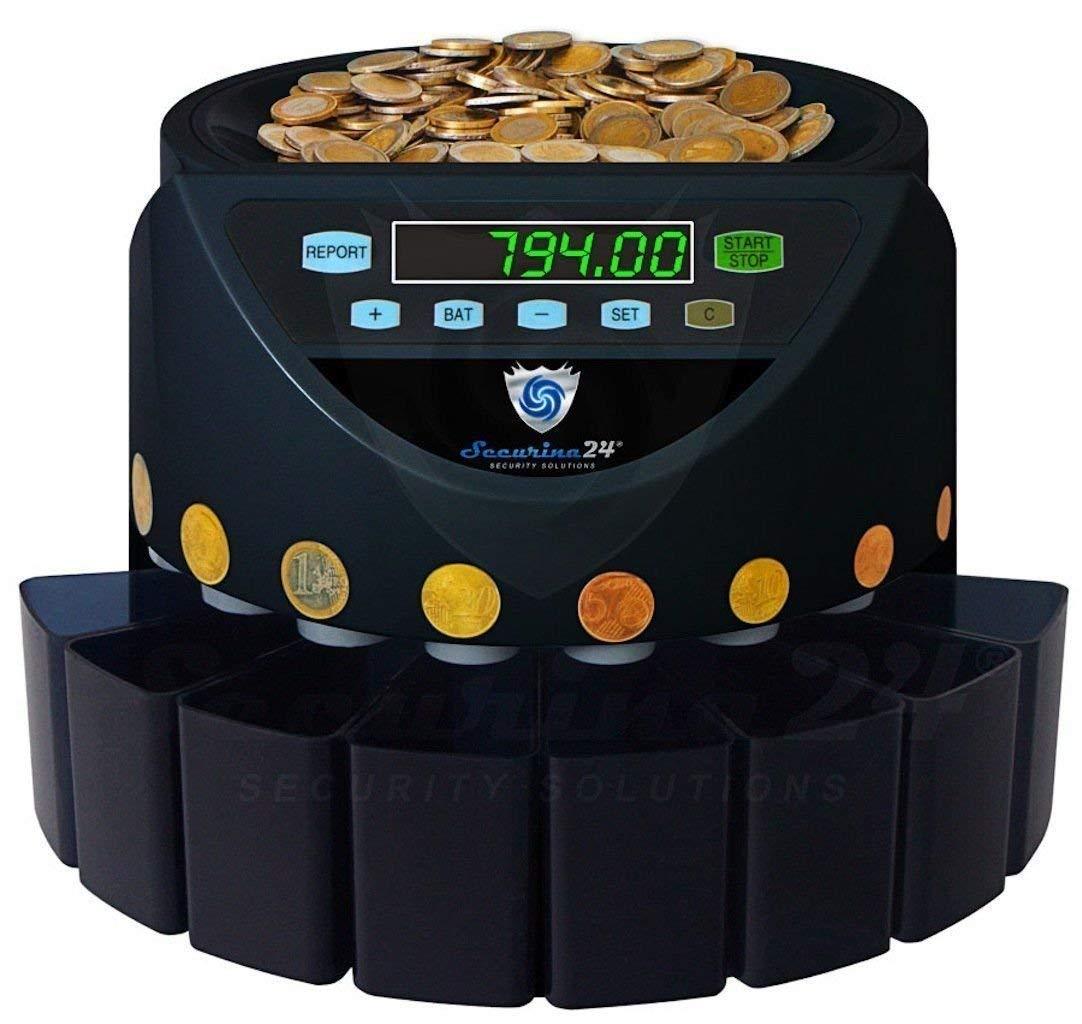 Securina24 SR1200BBB - Contador de monedas automático, color negro: Amazon.es: Oficina y papelería