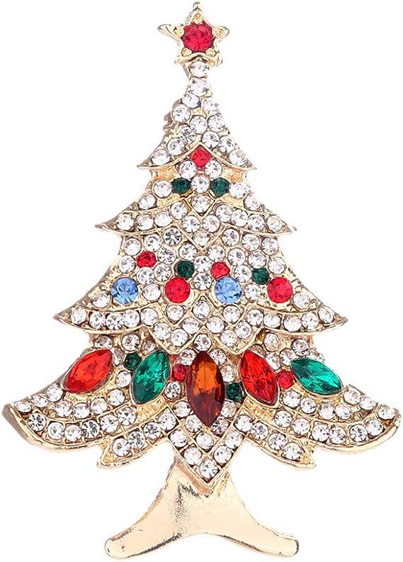 Qinlee Broche Femme V/êtements Bijoux Fantaisie Cristal Broche Sapin de No/ël P/ère No/ël D/écor/é Alliage