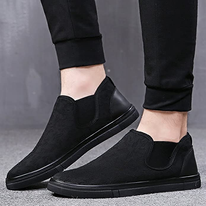 Men's Fashion Canvas Slip On Flats Loafer Shoes With Elastic Y17053