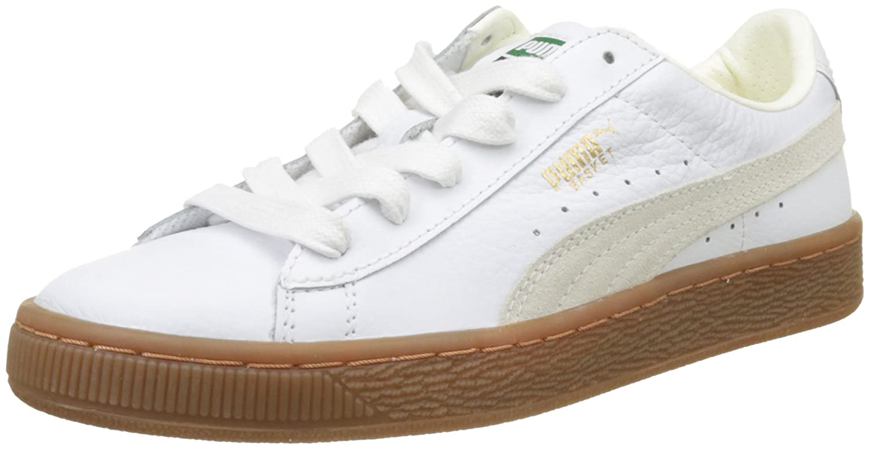 Puma Basket Classic Gum Deluxe Jr, Zapatillas Unisex Niños 35.5 EU|Blanco (Puma White-puma White)