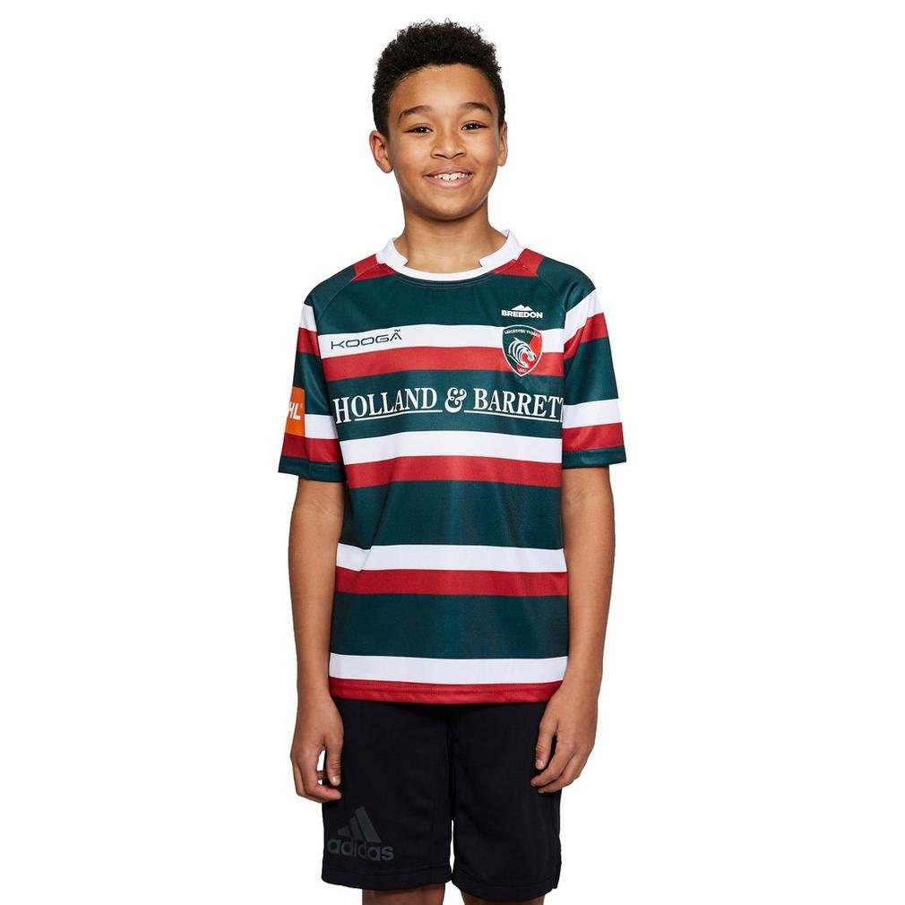 Green Leicester Tigers 2016//17 Kids Home S//S Replica Rugby Shirt