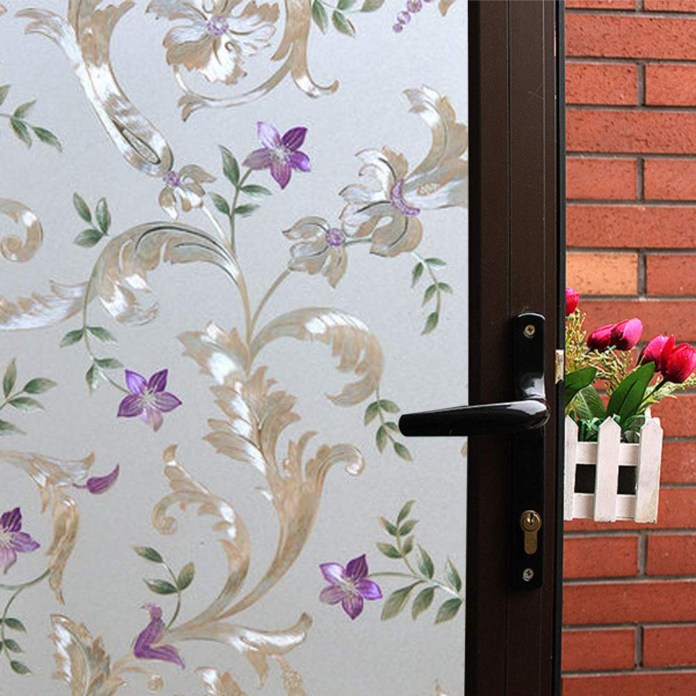 Mikomer Bullflower Decorative Window Film,Privacy Door Film,Static Cling Glass Film,No Glue/Stained Glass/Anti UV Window Paper for Bathroom,Office,Meeting Room,Bedroom,35In. by 78.7In. by Mikomer