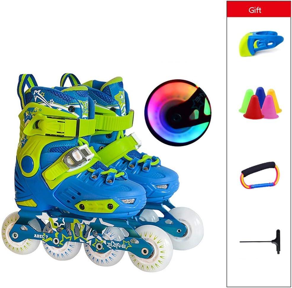 インラインスケート 成人初心者用インラインスケート、男性用および女性用の単列スケート、調節可能な学生用ローラースケート、ブルーピンク (Color : 青, Size : S (EU 28-31)) 青 S (EU 28-31)